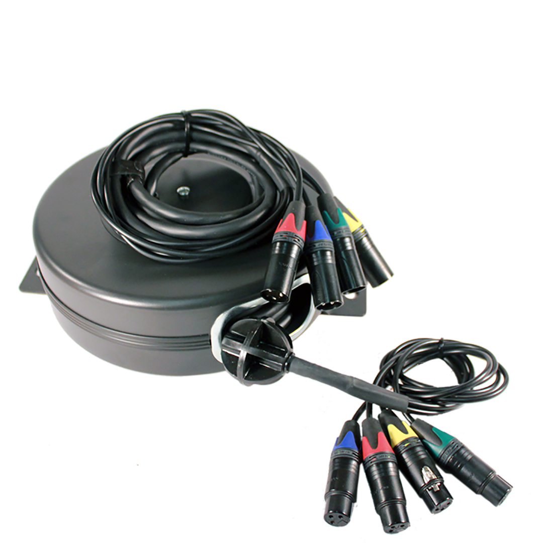 4 Xlr 25ft Retractable Cable Reel Snake Stage Ninja
